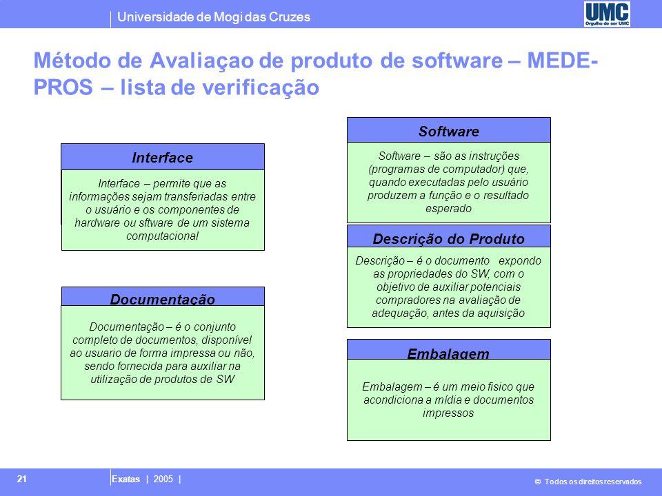 Universidade de Mogi das Cruzes © Todos os direitos reservados Exatas | 2005 | 21 Método de Avaliaçao de produto de software – MEDE- PROS – lista de verificação Interface NBR ISO/IEC 9126-1 ISO 9241-10,11,12 ERGOLIST Documentação NBR ISO/IEC 12119 ANSI/IEEE 1063 NBR ISO/IEC 9126-1 ISO 9127 Software NBR ISO/IEC 9126-1 Descrição do Produto NBR ISO/IEC 12119 ISO 9127 Embalagem BR ISO/IEC 12119 ISO 9127 Interface – permite que as informações sejam transferiadas entre o usuário e os componentes de hardware ou sftware de um sistema computacional Embalagem – é um meio fisico que acondiciona a mídia e documentos impressos Software – são as instruções (programas de computador) que, quando executadas pelo usuário produzem a função e o resultado esperado Documentação – é o conjunto completo de documentos, disponível ao usuario de forma impressa ou não, sendo fornecida para auxiliar na utilização de produtos de SW Descrição – é o documento expondo as propriedades do SW, com o objetivo de auxiliar potenciais compradores na avaliação de adequação, antes da aquisição