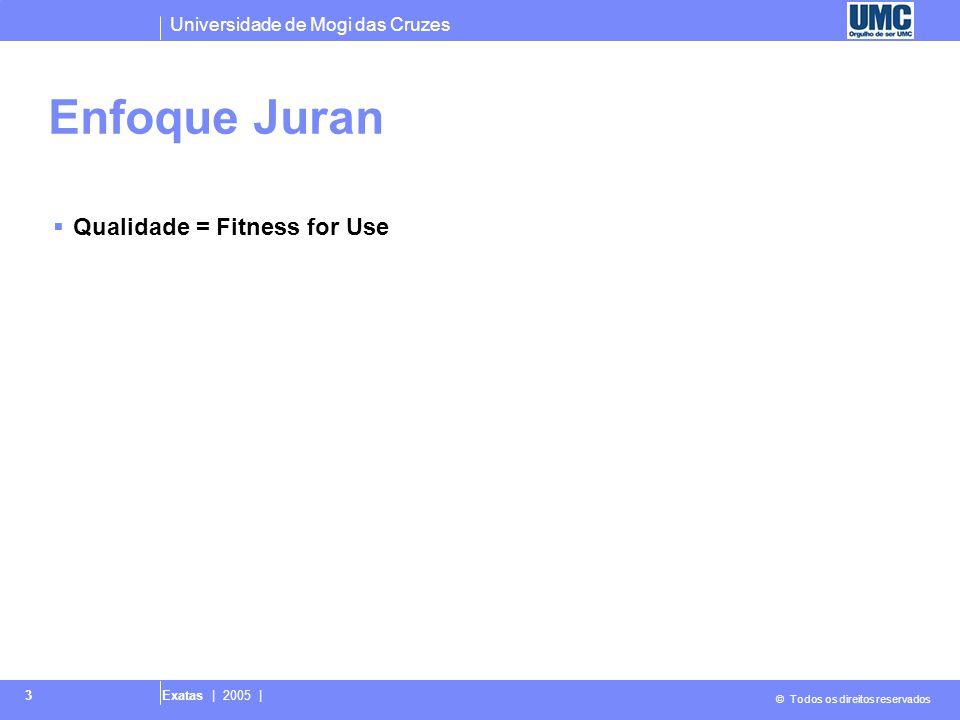 Universidade de Mogi das Cruzes © Todos os direitos reservados Exatas | 2005 | 3 Enfoque Juran  Qualidade = Fitness for Use