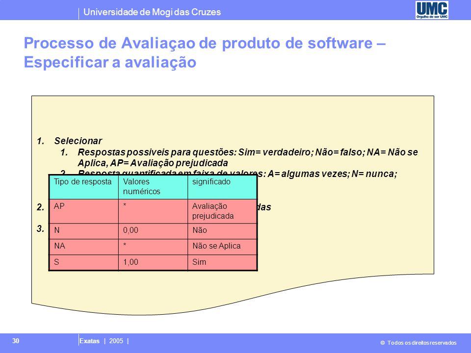 Universidade de Mogi das Cruzes © Todos os direitos reservados Exatas | 2005 | 30 1.Selecionar 1.Respostas possiveis para questões: Sim= verdadeiro; N