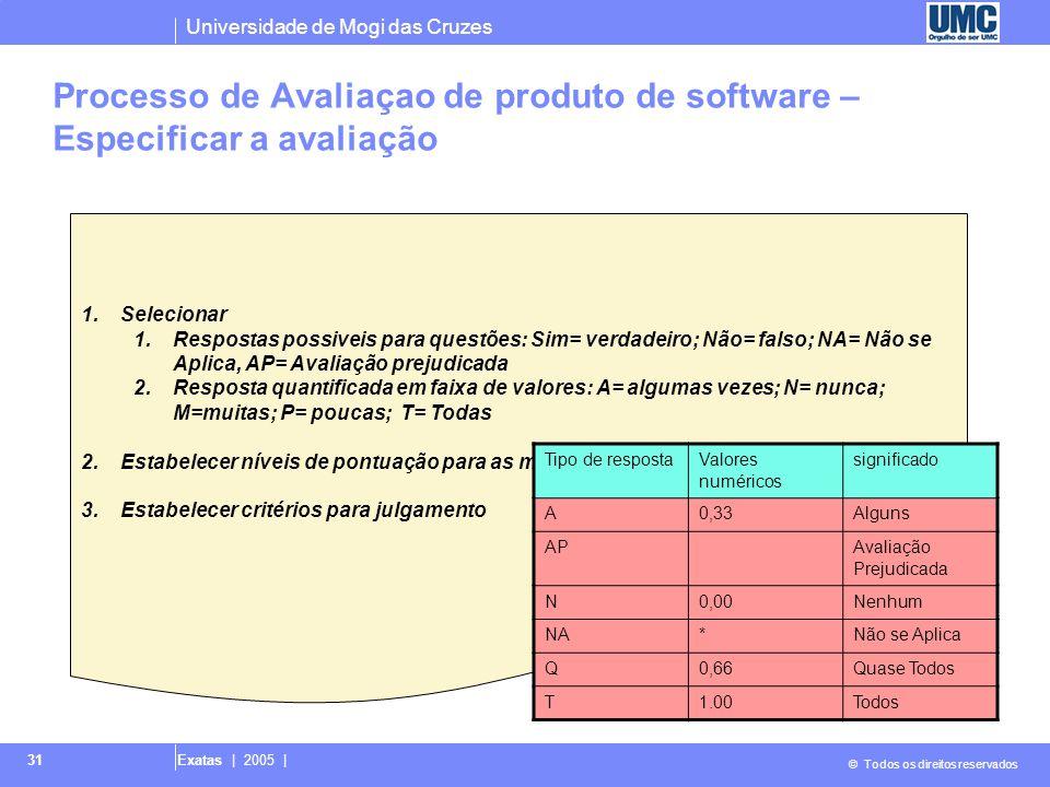 Universidade de Mogi das Cruzes © Todos os direitos reservados Exatas | 2005 | 31 1.Selecionar 1.Respostas possiveis para questões: Sim= verdadeiro; N