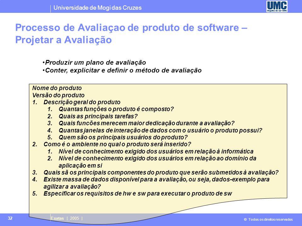 Universidade de Mogi das Cruzes © Todos os direitos reservados Exatas | 2005 | 32 Processo de Avaliaçao de produto de software – Projetar a Avaliação