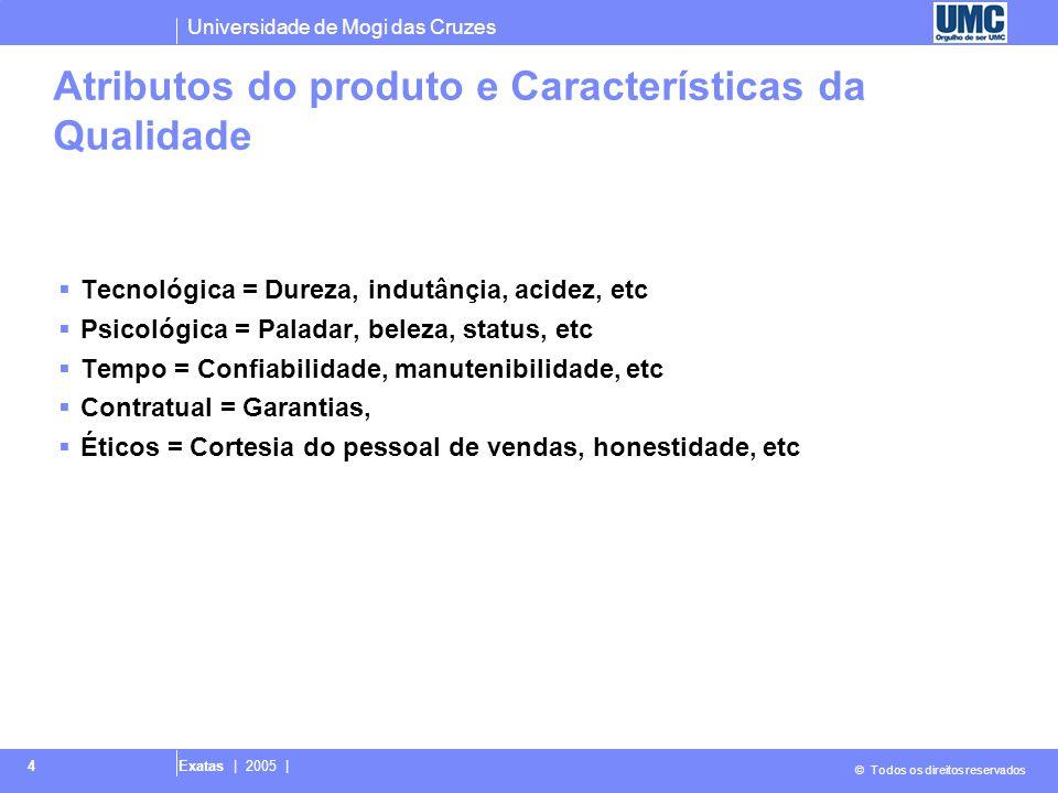 Universidade de Mogi das Cruzes © Todos os direitos reservados Exatas | 2005 | 4 Atributos do produto e Características da Qualidade  Tecnológica = D