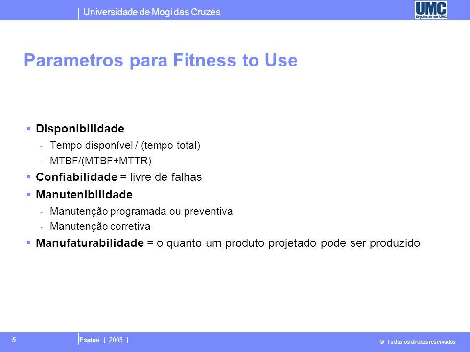 Universidade de Mogi das Cruzes © Todos os direitos reservados Exatas | 2005 | 5 Parametros para Fitness to Use  Disponibilidade - Tempo disponível /