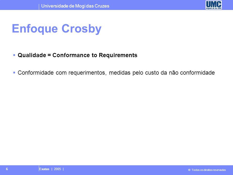 Universidade de Mogi das Cruzes © Todos os direitos reservados Exatas | 2005 | 6 Enfoque Crosby  Qualidade = Conformance to Requirements  Conformida
