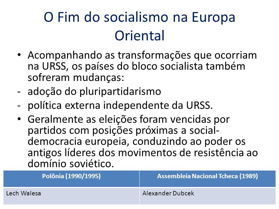 O Fim do socialismo na Europa Oriental Acompanhando as transformações que ocorriam na URSS, os países do bloco socialista também sofreram mudanças: -a