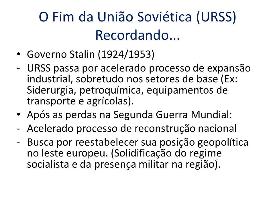 O Fim da União Soviética (URSS) Recordando... Governo Stalin (1924/1953) -URSS passa por acelerado processo de expansão industrial, sobretudo nos seto