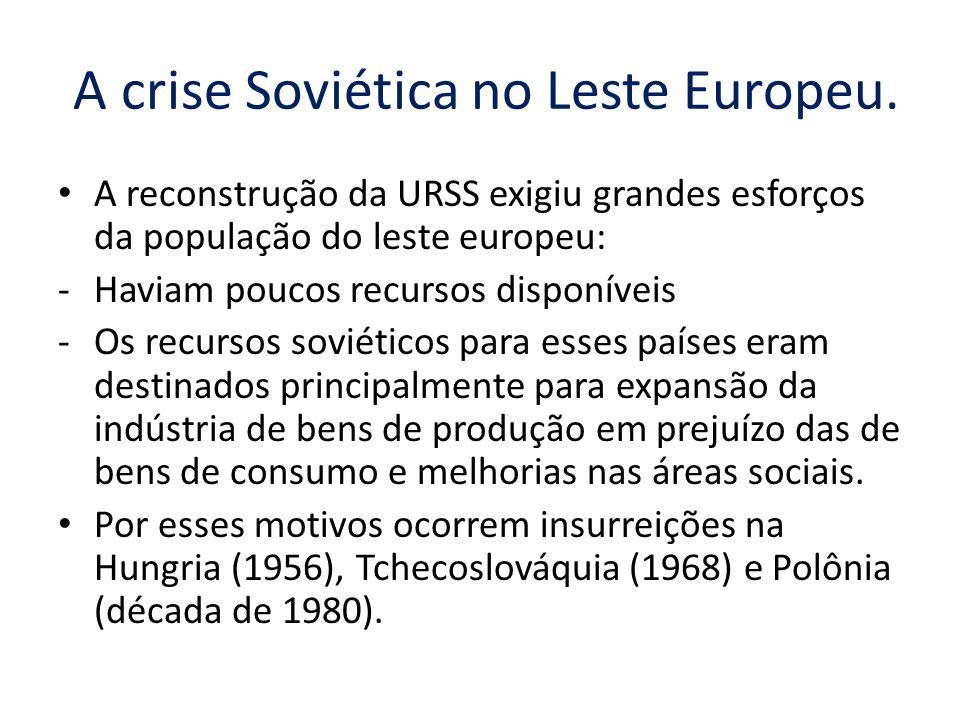 A crise Soviética no Leste Europeu. A reconstrução da URSS exigiu grandes esforços da população do leste europeu: -Haviam poucos recursos disponíveis