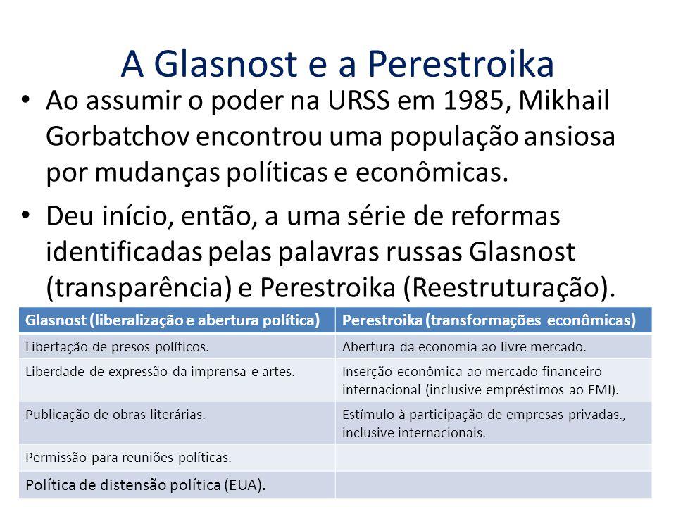 A Glasnost e a Perestroika Ao assumir o poder na URSS em 1985, Mikhail Gorbatchov encontrou uma população ansiosa por mudanças políticas e econômicas.