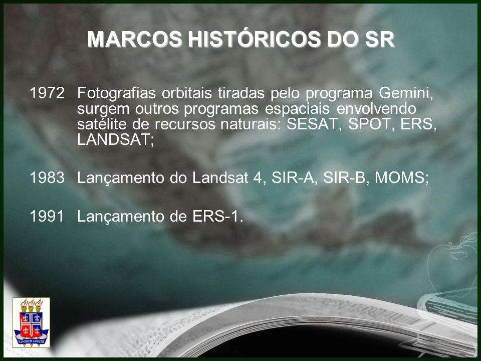 MARCOS HISTÓRICOS DO SR 1972Fotografias orbitais tiradas pelo programa Gemini, surgem outros programas espaciais envolvendo satélite de recursos naturais: SESAT, SPOT, ERS, LANDSAT; 1983Lançamento do Landsat 4, SIR-A, SIR-B, MOMS; 1991Lançamento de ERS-1.
