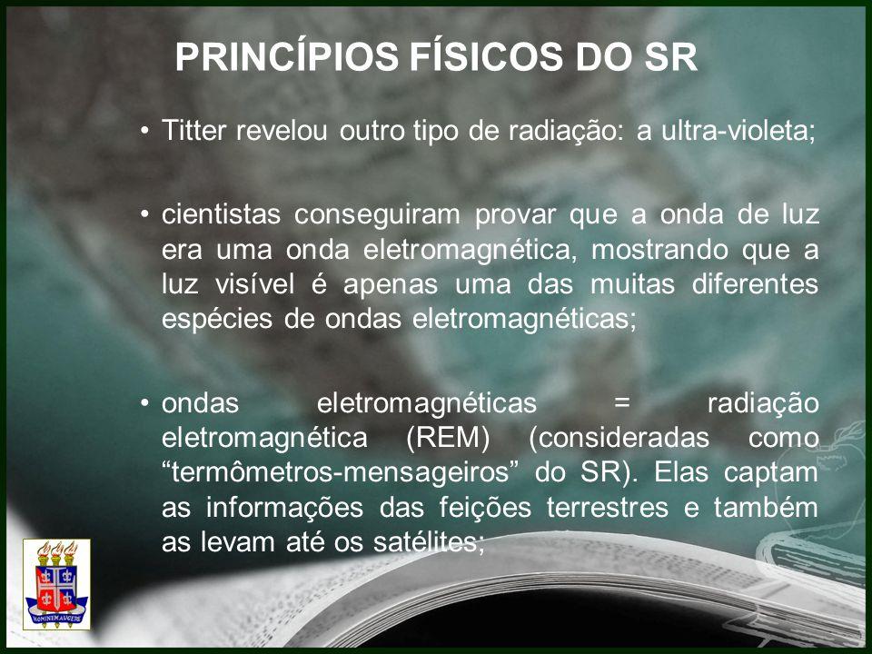 PRINCÍPIOS FÍSICOS DO SR Titter revelou outro tipo de radiação: a ultra-violeta; cientistas conseguiram provar que a onda de luz era uma onda eletromagnética, mostrando que a luz visível é apenas uma das muitas diferentes espécies de ondas eletromagnéticas; ondas eletromagnéticas = radiação eletromagnética (REM) (consideradas como termômetros-mensageiros do SR).