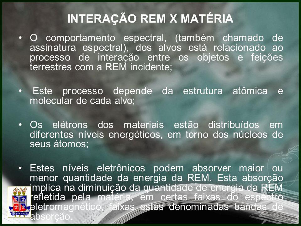 INTERAÇÃO REM X MATÉRIA O comportamento espectral, (também chamado de assinatura espectral), dos alvos está relacionado ao processo de interação entre os objetos e feições terrestres com a REM incidente; Este processo depende da estrutura atômica e molecular de cada alvo; Os elétrons dos materiais estão distribuídos em diferentes níveis energéticos, em torno dos núcleos de seus átomos; Estes níveis eletrônicos podem absorver maior ou menor quantidade da energia da REM.