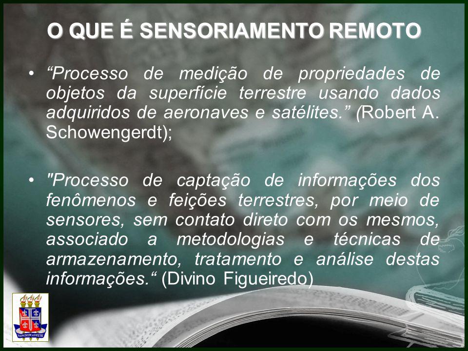 O QUE É SENSORIAMENTO REMOTO Processo de medição de propriedades de objetos da superfície terrestre usando dados adquiridos de aeronaves e satélites. (Robert A.