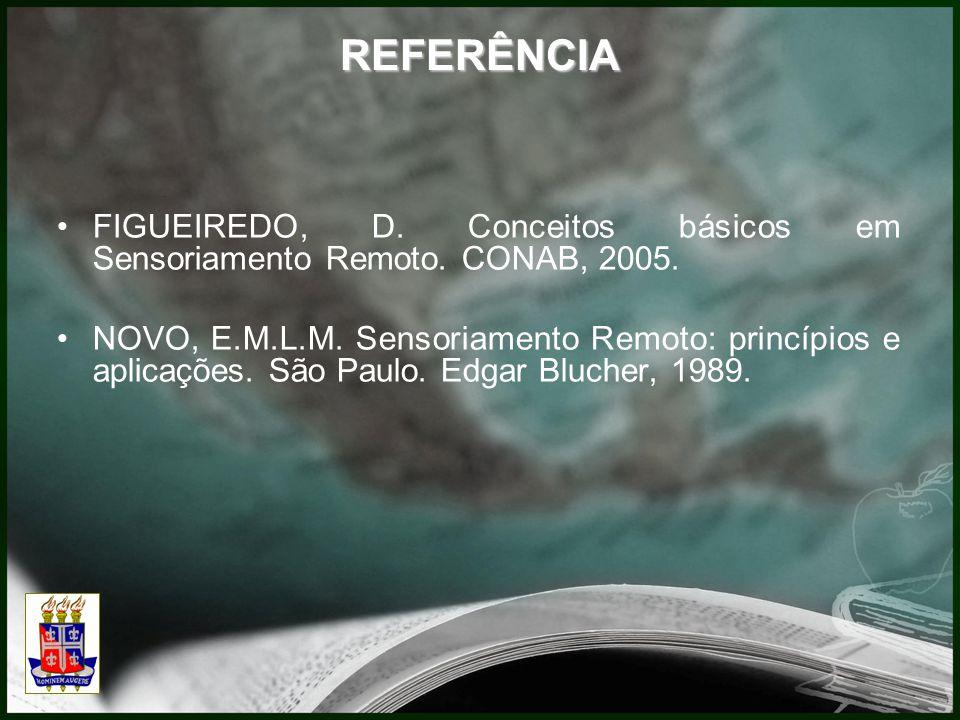 FIGUEIREDO, D. Conceitos básicos em Sensoriamento Remoto. CONAB, 2005. NOVO, E.M.L.M. Sensoriamento Remoto: princípios e aplicações. São Paulo. Edgar