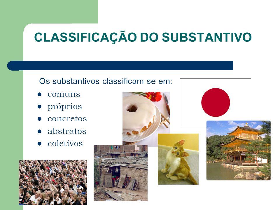 CLASSIFICAÇÃO DO SUBSTANTIVO comuns próprios concretos abstratos coletivos Os substantivos classificam-se em: