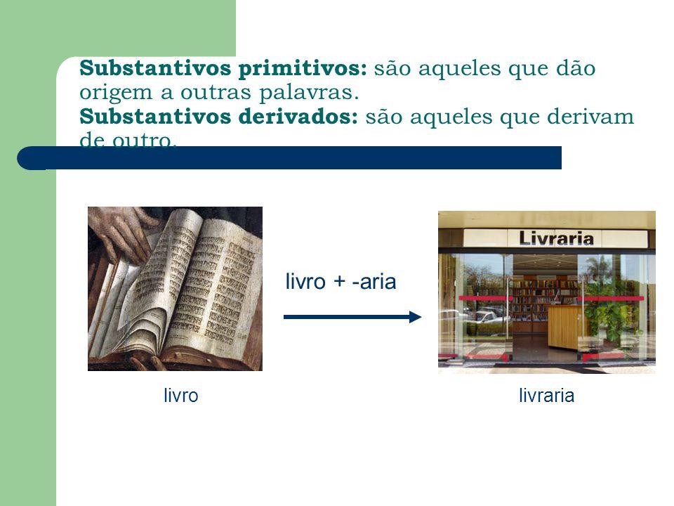 Substantivos primitivos: são aqueles que dão origem a outras palavras. Substantivos derivados: são aqueles que derivam de outro. livrolivraria livro +