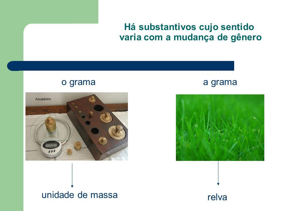 Há substantivos cujo sentido varia com a mudança de gênero o grama unidade de massa a grama relva