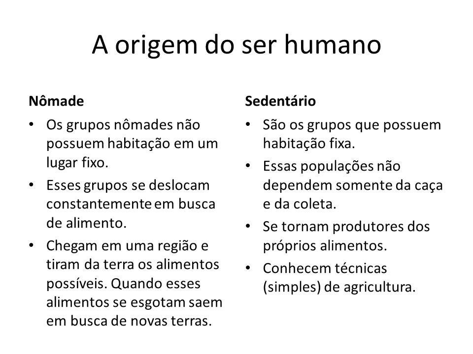 A origem do ser humano Nômade Os grupos nômades não possuem habitação em um lugar fixo.