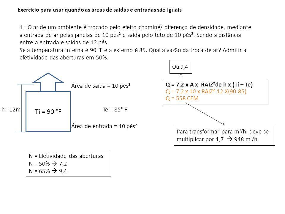 1 - O ar de um ambiente é trocado pelo efeito chaminé/ diferença de densidade, mediante a entrada de ar pelas janelas de 10 pés² e saída pelo teto de 10 pés².