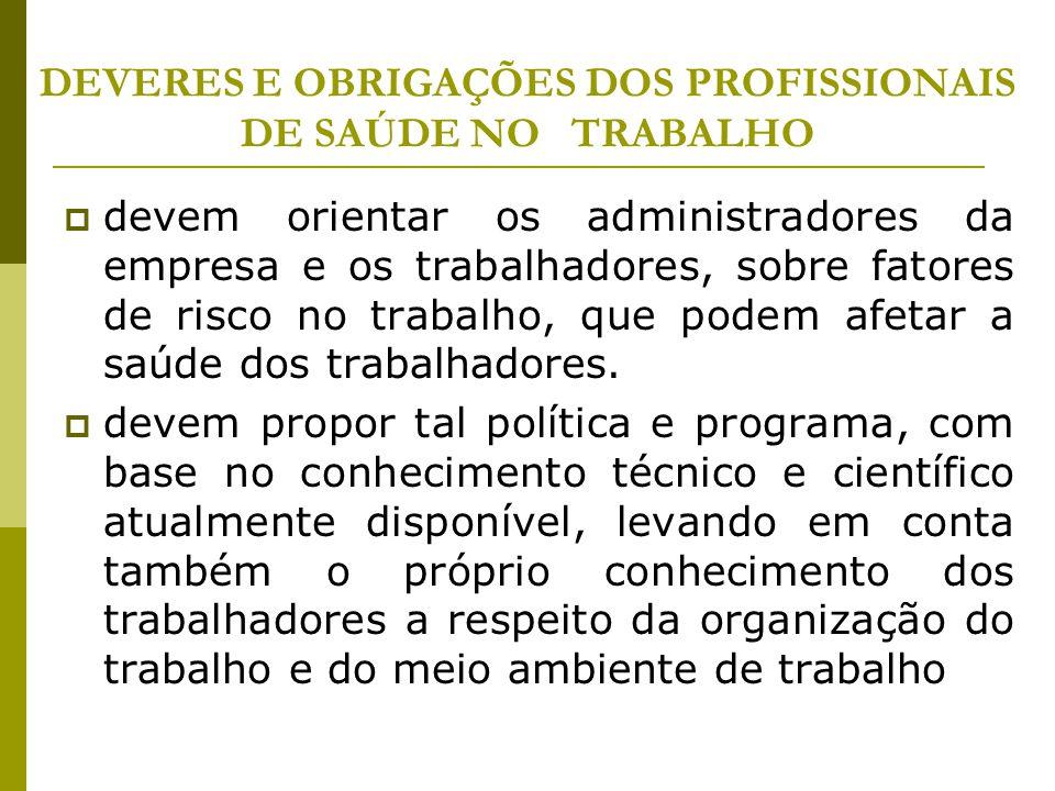 DEVERES E OBRIGAÇÕES DOS PROFISSIONAIS DE SAÚDE NO TRABALHO  devem orientar os administradores da empresa e os trabalhadores, sobre fatores de risco