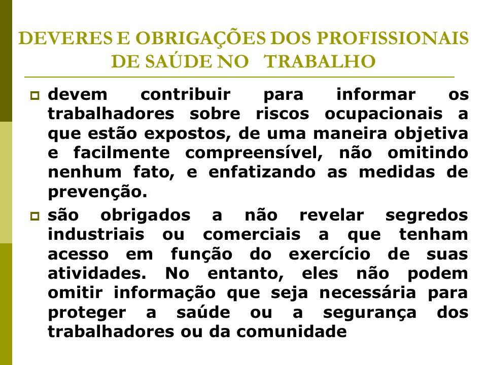DEVERES E OBRIGAÇÕES DOS PROFISSIONAIS DE SAÚDE NO TRABALHO  devem contribuir para informar os trabalhadores sobre riscos ocupacionais a que estão ex
