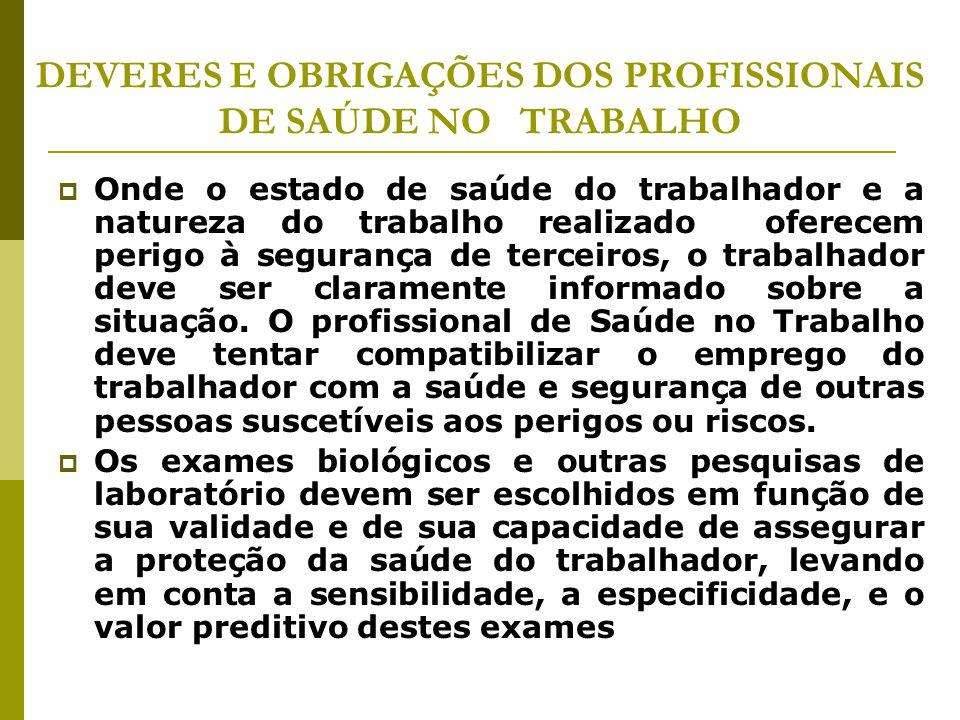DEVERES E OBRIGAÇÕES DOS PROFISSIONAIS DE SAÚDE NO TRABALHO  Onde o estado de saúde do trabalhador e a natureza do trabalho realizado oferecem perigo