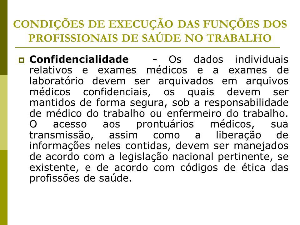 CONDIÇÕES DE EXECUÇÃO DAS FUNÇÕES DOS PROFISSIONAIS DE SAÚDE NO TRABALHO  Confidencialidade - Os dados individuais relativos e exames médicos e a exa