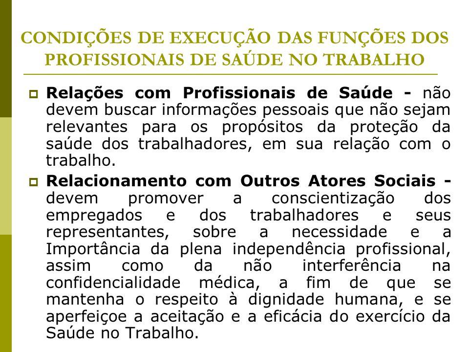 CONDIÇÕES DE EXECUÇÃO DAS FUNÇÕES DOS PROFISSIONAIS DE SAÚDE NO TRABALHO  Relações com Profissionais de Saúde - não devem buscar informações pessoais