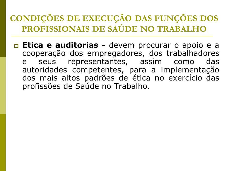 CONDIÇÕES DE EXECUÇÃO DAS FUNÇÕES DOS PROFISSIONAIS DE SAÚDE NO TRABALHO  Etica e auditorias - devem procurar o apoio e a cooperação dos empregadores