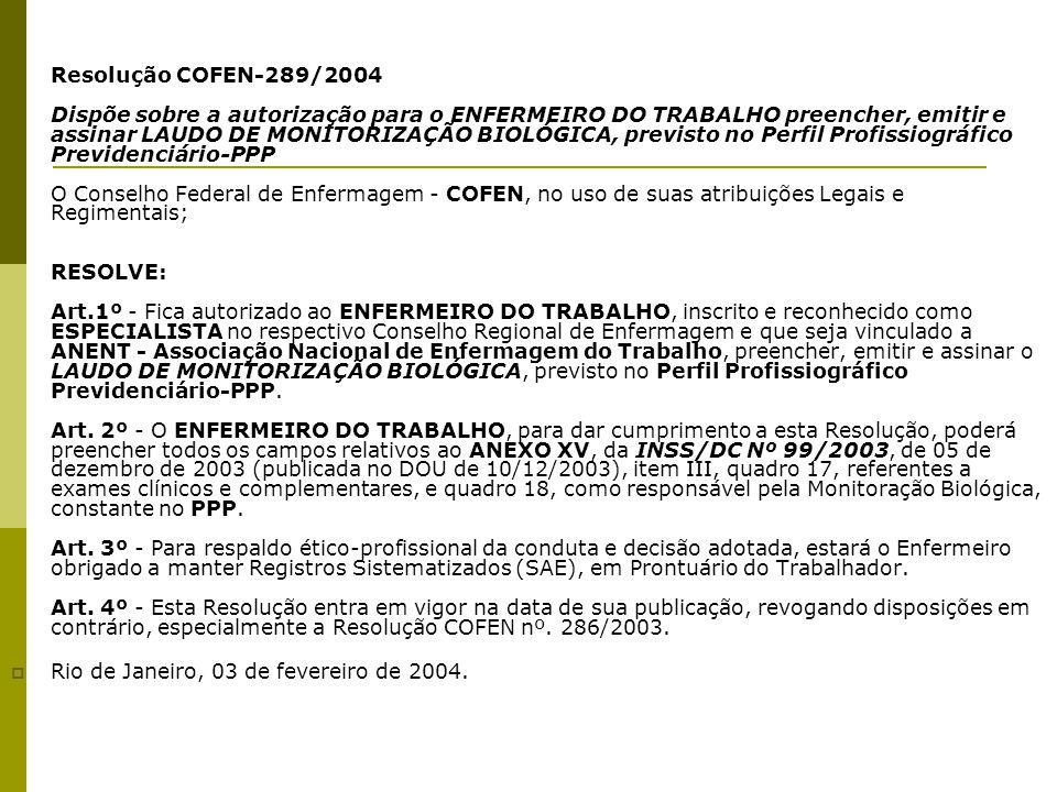  Resolução COFEN-289/2004 Dispõe sobre a autorização para o ENFERMEIRO DO TRABALHO preencher, emitir e assinar LAUDO DE MONITORIZAÇÃO BIOLÓGICA, prev