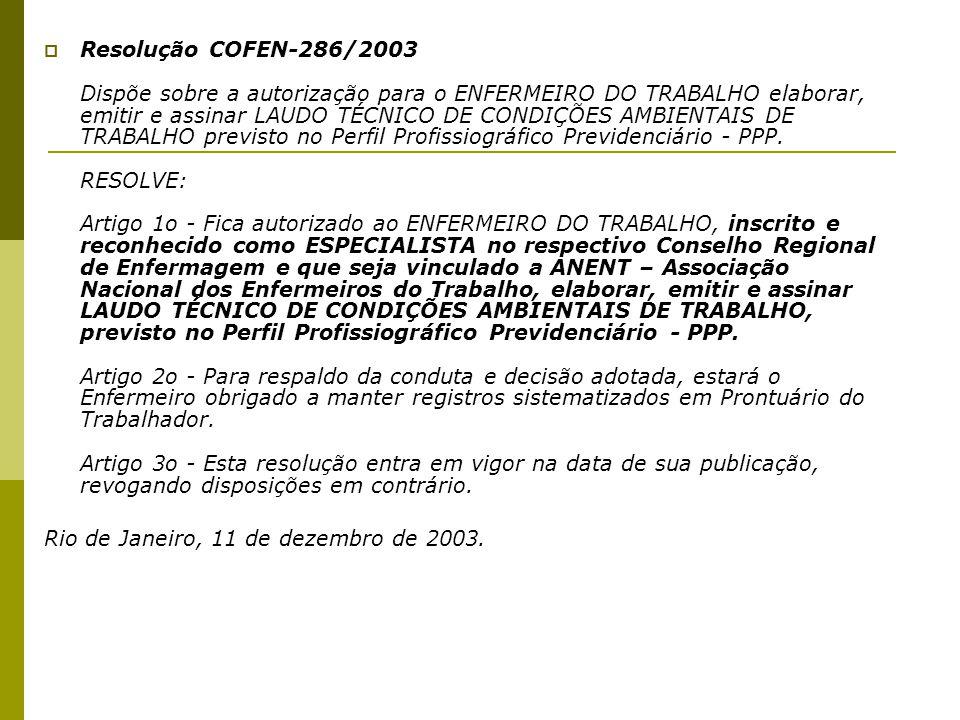  Resolução COFEN-286/2003 Dispõe sobre a autorização para o ENFERMEIRO DO TRABALHO elaborar, emitir e assinar LAUDO TÉCNICO DE CONDIÇÕES AMBIENTAIS D