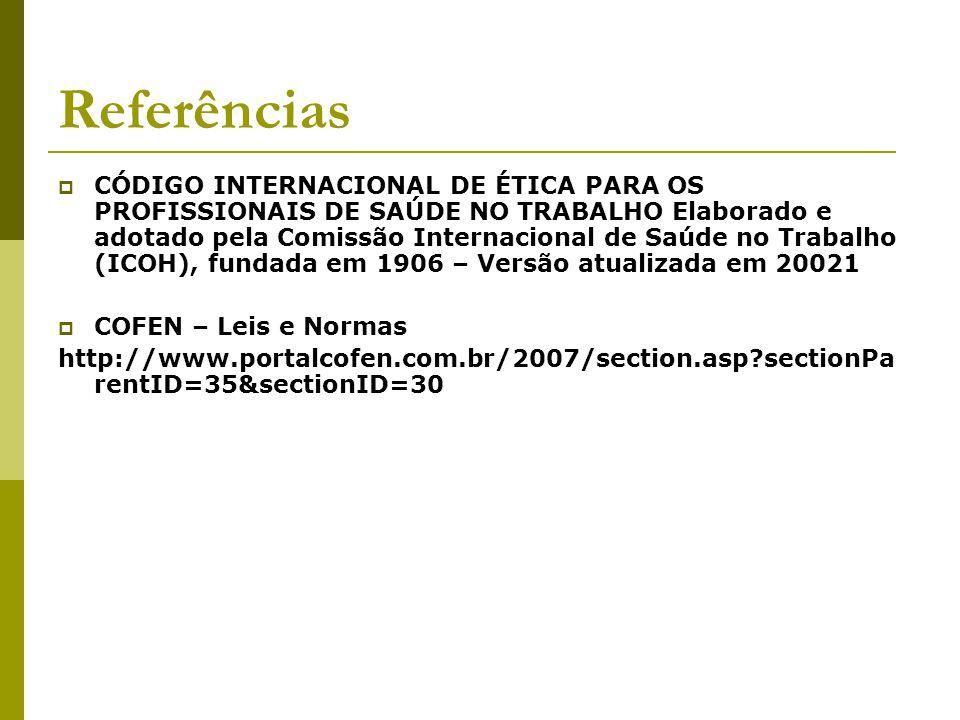 Referências  CÓDIGO INTERNACIONAL DE ÉTICA PARA OS PROFISSIONAIS DE SAÚDE NO TRABALHO Elaborado e adotado pela Comissão Internacional de Saúde no Tra