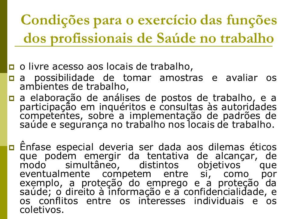 Condições para o exercício das funções dos profissionais de Saúde no trabalho  o livre acesso aos locais de trabalho,  a possibilidade de tomar amos