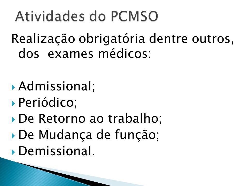 a) Avaliação clínica, abrangendo anamnese ocupacional e exame físico e mental; b) Exames complementares, realizados de acordo com os termos específicos na NR e seus anexos.
