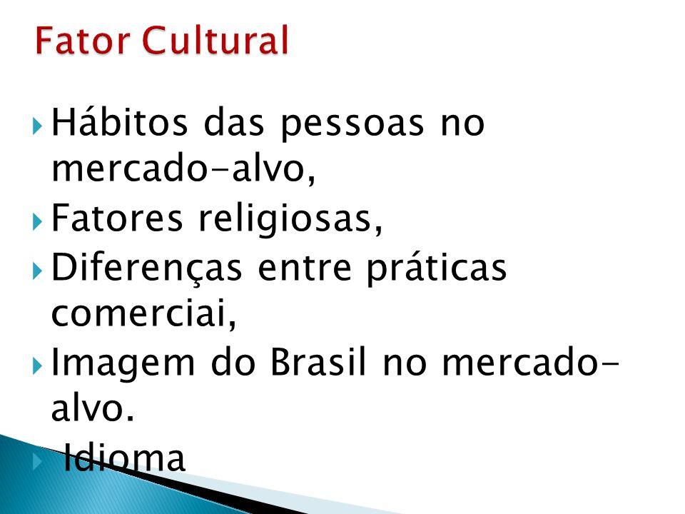  Hábitos das pessoas no mercado-alvo,  Fatores religiosas,  Diferenças entre práticas comerciai,  Imagem do Brasil no mercado- alvo.