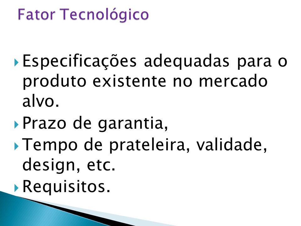  Especificações adequadas para o produto existente no mercado alvo.