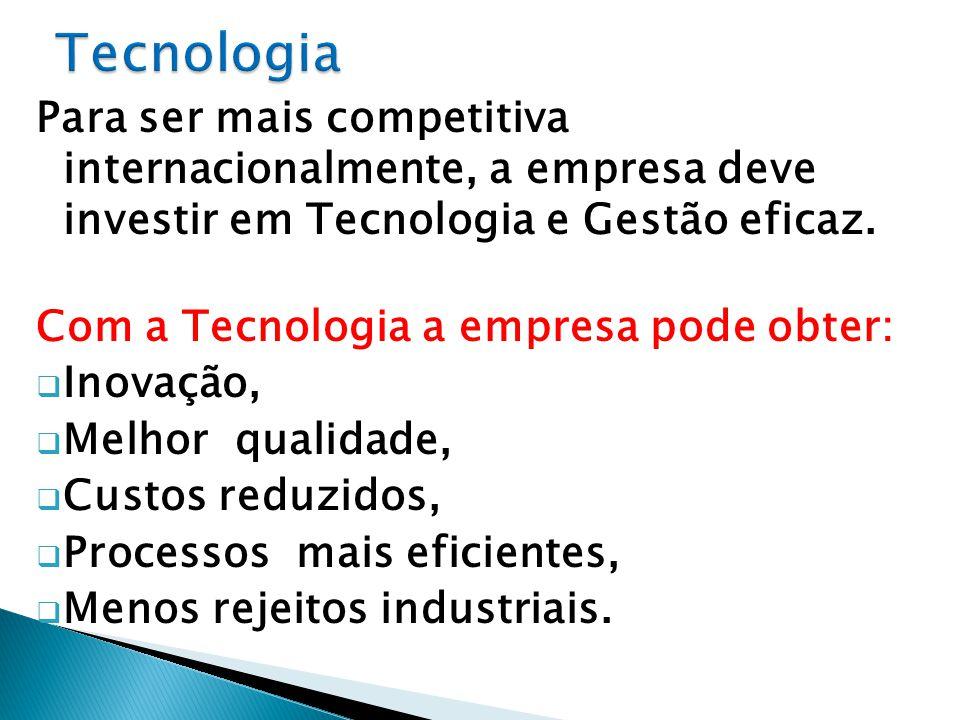 Para ser mais competitiva internacionalmente, a empresa deve investir em Tecnologia e Gestão eficaz.