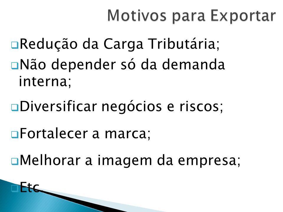  Redução da Carga Tributária;  Não depender só da demanda interna;  Diversificar negócios e riscos;  Fortalecer a marca;  Melhorar a imagem da empresa;  Etc.