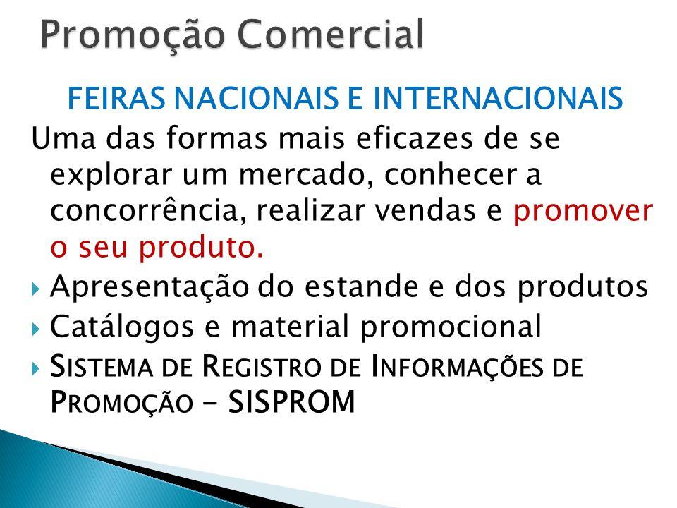 FEIRAS NACIONAIS E INTERNACIONAIS Uma das formas mais eficazes de se explorar um mercado, conhecer a concorrência, realizar vendas e promover o seu produto.