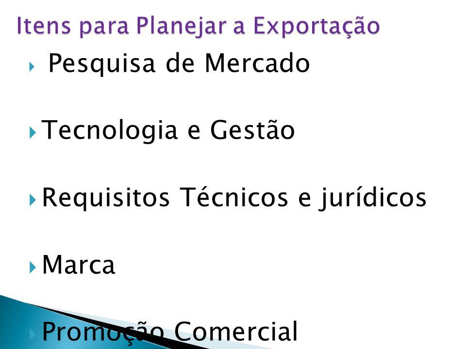  Pesquisa de Mercado  Tecnologia e Gestão  Requisitos Técnicos e jurídicos  Marca  Promoção Comercial