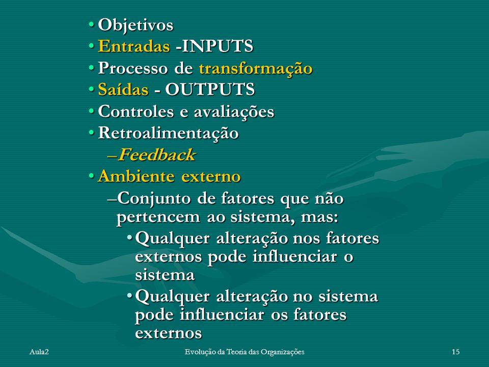 Aula2Evolução da Teoria das Organizações15 ObjetivosObjetivos Entradas -INPUTSEntradas -INPUTS Processo de transformaçãoProcesso de transformação Saídas - OUTPUTSSaídas - OUTPUTS Controles e avaliaçõesControles e avaliações RetroalimentaçãoRetroalimentação –Feedback Ambiente externoAmbiente externo –Conjunto de fatores que não pertencem ao sistema, mas: Qualquer alteração nos fatores externos pode influenciar o sistemaQualquer alteração nos fatores externos pode influenciar o sistema Qualquer alteração no sistema pode influenciar os fatores externosQualquer alteração no sistema pode influenciar os fatores externos
