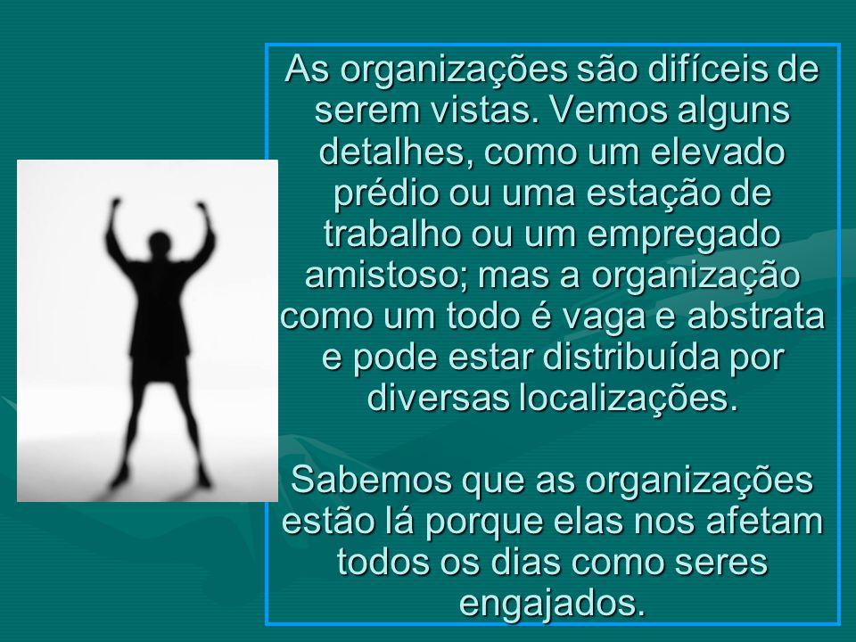 As organizações são difíceis de serem vistas.