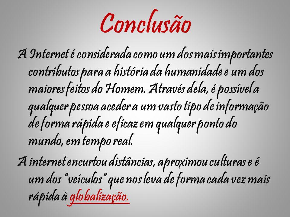 Conclusão A Internet é considerada como um dos mais importantes contributos para a história da humanidade e um dos maiores feitos do Homem.