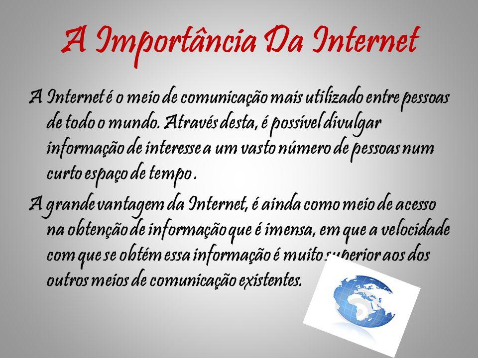 A Importância Da Internet A Internet é o meio de comunicação mais utilizado entre pessoas de todo o mundo.