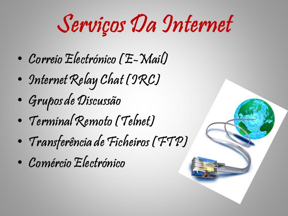 Serviços Da Internet Correio Electrónico (E-Mail) Internet Relay Chat (IRC) Grupos de Discussão Terminal Remoto (Telnet) Transferência de Ficheiros (FTP) Comércio Electrónico
