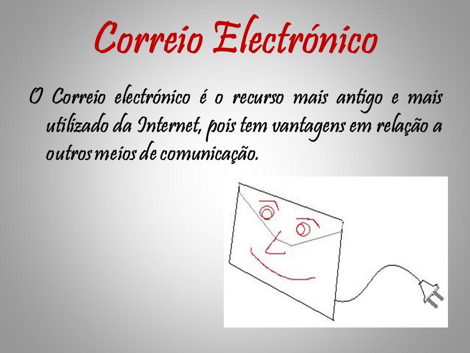Correio Electrónico O Correio electrónico é o recurso mais antigo e mais utilizado da Internet, pois tem vantagens em relação a outros meios de comunicação.