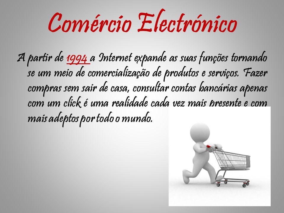 Comércio Electrónico A partir de 1994 a Internet expande as suas funções tornando se um meio de comercialização de produtos e serviços.