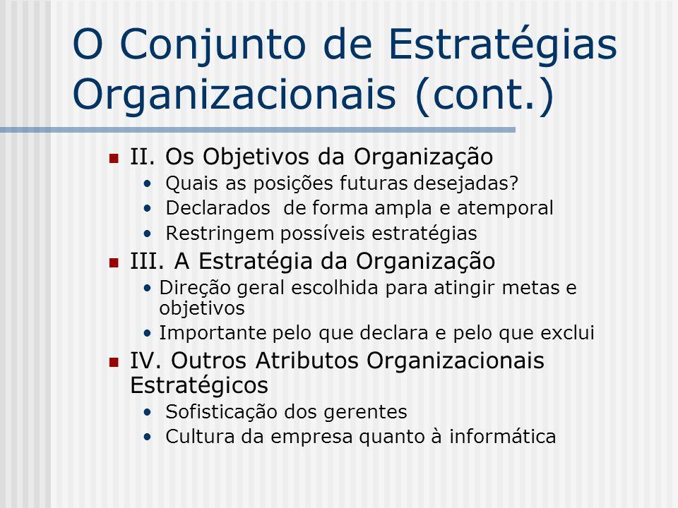 O Conjunto de Estratégias Organizacionais (cont.) II. Os Objetivos da Organização Quais as posições futuras desejadas? Declarados de forma ampla e ate
