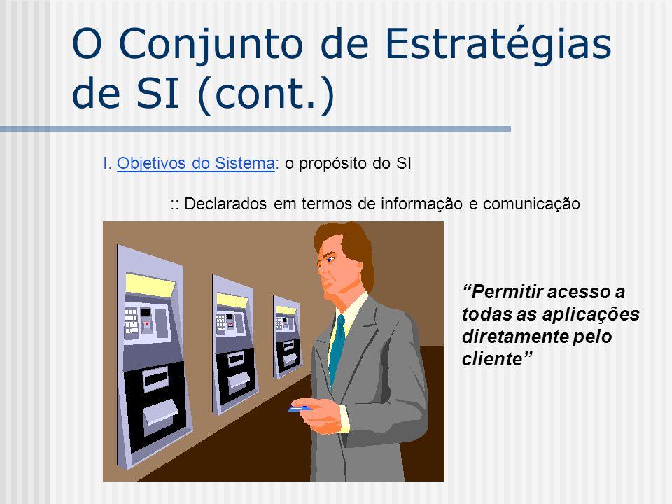 """I. Objetivos do Sistema: o propósito do SI :: Declarados em termos de informação e comunicação """"Permitir acesso a todas as aplicações diretamente pelo"""