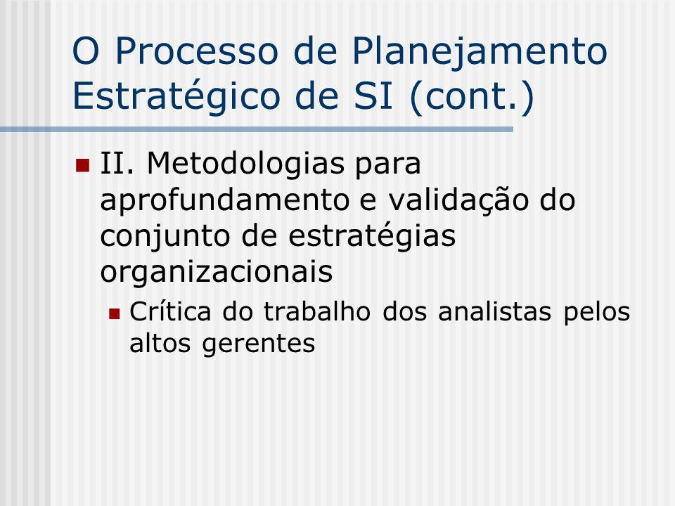 O Processo de Planejamento Estratégico de SI (cont.) II. Metodologias para aprofundamento e validação do conjunto de estratégias organizacionais Críti