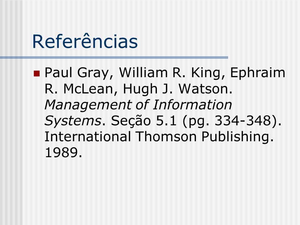 Referências Paul Gray, William R. King, Ephraim R. McLean, Hugh J. Watson. Management of Information Systems. Seção 5.1 (pg. 334-348). International T